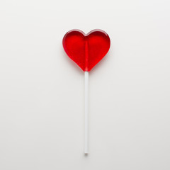Candy heart on white background isolated. Minimal love concept. Romantic Style.