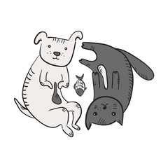 Cute funny cartoon yin and yang symbol with cat, dog and fish. Black and white sketchy hand drawn thoughtful and tired pets lying in circle. Feng shui symbol for animals shelter, pet shop, pounds