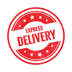 Express delivery grunge retro red isolated stamp on white background