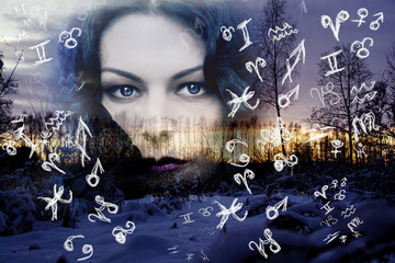 Night, woman's face, zodiac signs