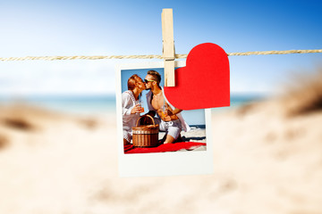 Photo of two lovers on beach