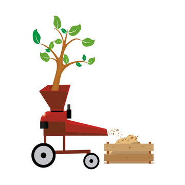 Wood chipper vector file tree through wood chipping machine chipper,