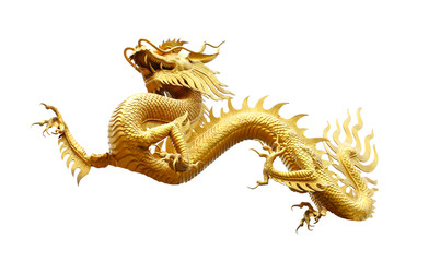 Chinese golden dragon isolated on white with clipping path