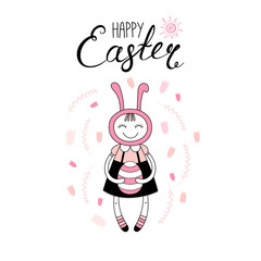 Hand drawn vector illustration with cute cartoon girl in bunny costume, egg, Happy Easter text. Isolated objects. Vector illustration. Festive design elements. Concept for greeting card, invitation.