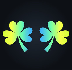 Two clover icons for luck - with St. Patrick's Day. Neon icon vector, close-up