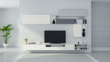 TV cabinet interior modern roon design and Cozy Living style , Wood sideboard on white wall with  mable floor and gray carpet ,3d illustation