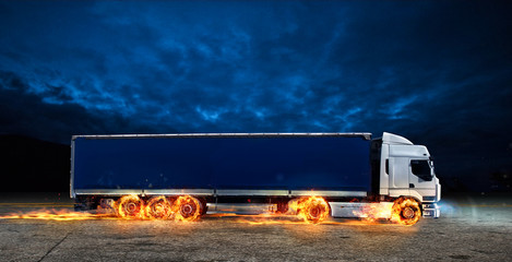 Super fast delivery of package service with a truck with wheels on fire