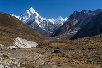 Ama Dablam mountain peak view from Dzongla village, Everest region, Nepal