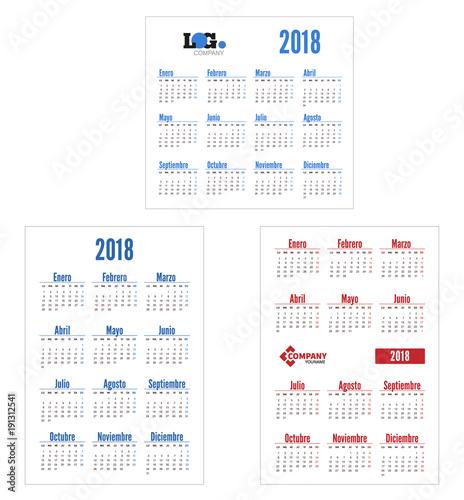Spanish Set Horizontal And Vertical Calendar 2018 Week Starts From