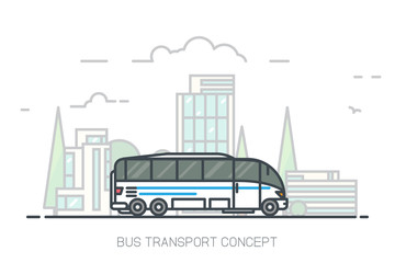 Touristic white bus driving on freeway. Urban background, skyscrapers and buildings. Bus travel concept with white background. Modern line vector illustration. Public transport and bus station.