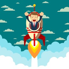 Happy businessman on a rocket ship launching to starry sky. Start up business concept. Stock flat vector illustration.