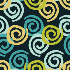 Seamless geometric pattern. Squiggles texture. Bright colors and simple shapes. Trendy seamless pattern designs.