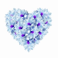 Photo sur Toile Surrealisme Heart Blue Light Flowers