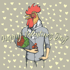 Vector rooster with flowers celebrating Valentines Day