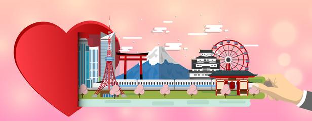 Heart with landmarks of Japan .Love travel love Tokyo. February 14 Valentine's Day
