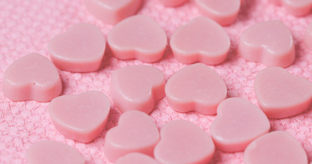 Pink heart shape chocolate candy