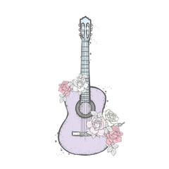 Acoustic guitar and roses. Bouquet of flowers. Vector illustration.