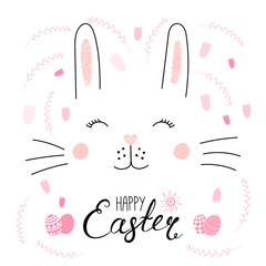 Hand drawn vector portrait of a cute funny bunny, with text Happy Easter, eggs. Isolated objects on white background. Vector illustration. Design concept for children, celebration.