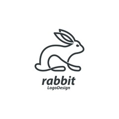 Line Art Bunny Logo, Single Line Art Rabbit Logo, Line Art Animal Design Logo Vector