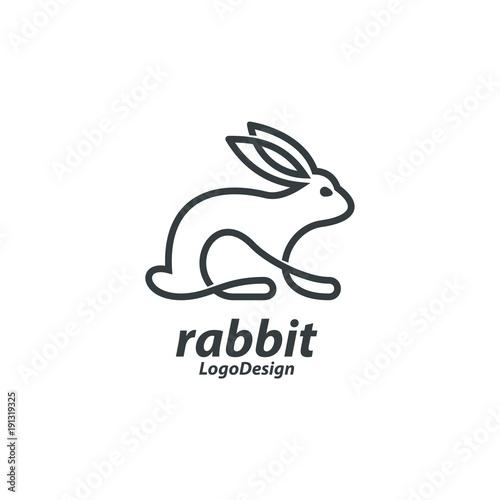 Line Art Bunny Logo, Single Line Art Rabbit Logo, Line Art