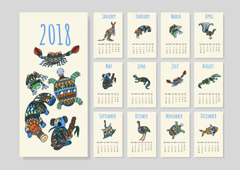 Calendar with tribal australian animals for year 2018. Calendar with cute stylized animals on white background.