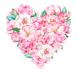 Beautiful heart with watercolor hand drawn pink and white flowers isolated on white background. Useful for romantic design of greeting card, wedding invitations, Valentine's day postcards.