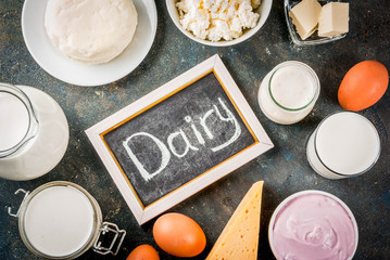 Healthy food concept. Set of dairy products dark blue background copy space