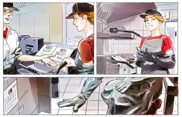 staff in a fast food cafe, graphic illustration