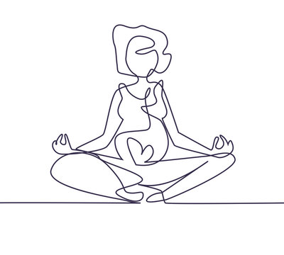 One continuing line. Yoga for pregnant