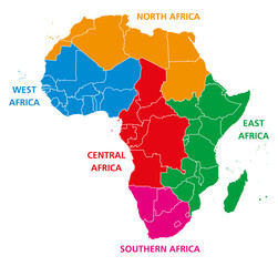 Regions of Africa. Political map. United Nations geoscheme with single countries. North, West, Central, East and Southern Africa in different colors. English labeling. Illustration over white. Vector.