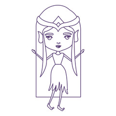 elf princess in purple contour over white background vector illustration