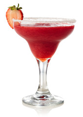 Strawberry margarita cocktail isolated on white
