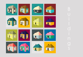 Isolated city buildings icon set different heights residential and public buildings business centers vector illustration