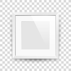 Realistic empty squre white frame with passepartout on transparent background, border for your creative project, mock-up sample, picture on the wall, vector design object