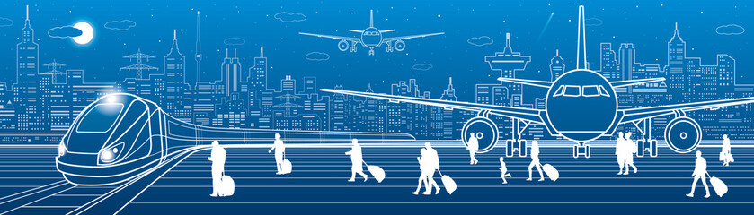 Airport panorama. Passengers go to the train. Aviation travel transportation infrastructure. The plane is on the runway. Night city on background, vector design art