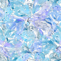 Seamless colorful abstract flower pattern.Blue, grey leaves on white background.