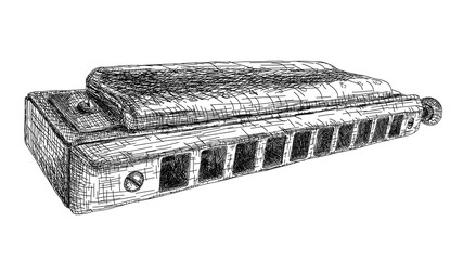 Vector illustration drawing of harmonica.