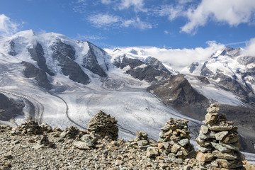 Overview of the Diavolezza and Pers glaciers and Piz Palu, St. Moritz, canton of Graubunden, Engadine, Switzerland, Europe