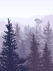 Vertical illustration of violet coniferous forest.