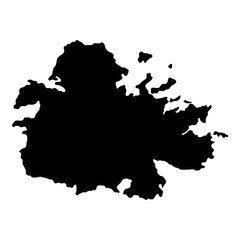 Antigua map. Island silhouette icon. Isolated Antigua black map outline. Vector illustration.