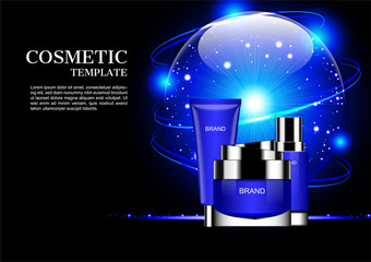 Cosmetic set and blue shining globe with orbital lights on dark background
