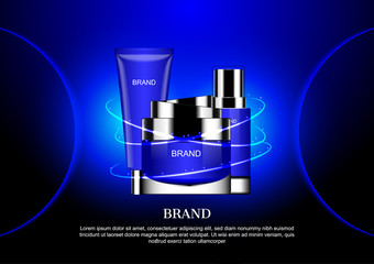Cosmetic set in three halo lights on blue background with two half circles on left and right side
