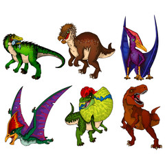 Set of dinosaurs. Isolated vector illustration.