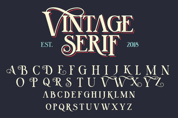 Vintage serif lettering font