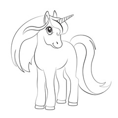 Sketch of a unicorn for coloring, on a white background.