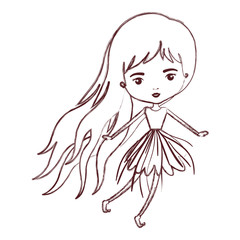 girly fairy without wings and long hair and dress in brown blurred silhouette vector illustration