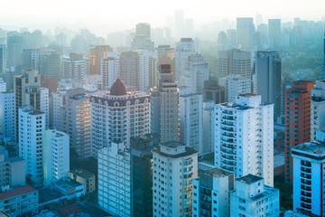 Panoramic view residential buildings at Sao Paulo, Brazil, South America