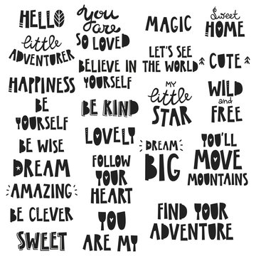 Cute kids phrases, for baby room, greeting card, print on the wall, pillow, decoration kids interior, baby wear and t-shirts