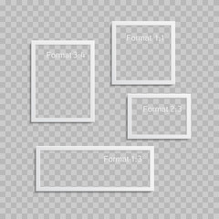 Photo frames with realistic drop shadow vector effect isolated. Image borders with 3d shadows. Empty photo frame template gallery illustration. The size of the photo is 1:3, 1:1, 2:3, 3:4