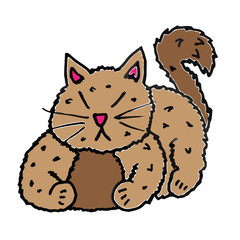 Cute Cat Kitten Cartoon Illustraion
